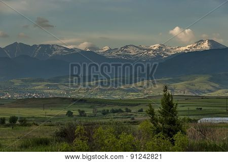 View to Pirin Mountain from highway Sofia-Petrich
