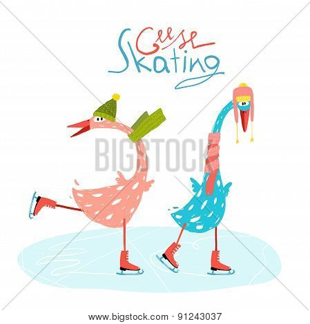 Colorful Fun Cartoon Ice Skating Geese for Kids