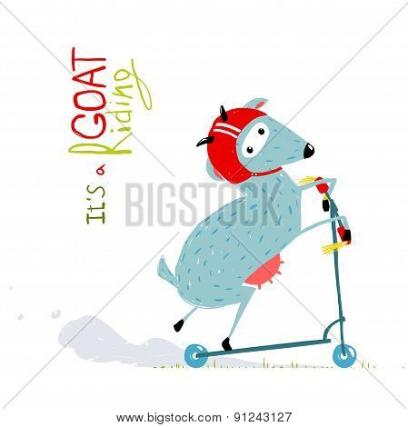Childish Colorful Fun Cartoon Goat Riding Scooter