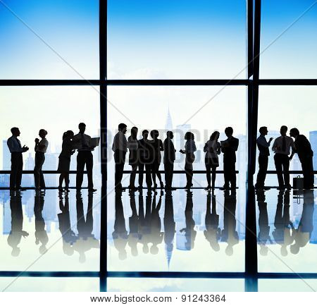Silhouette Group of Business People Meeting Concept
