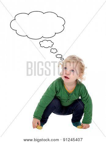 Blond baby thinking something isolated on a white background
