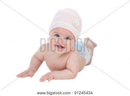 Adorable baby girl with wool hat isolated on a white backgrou d