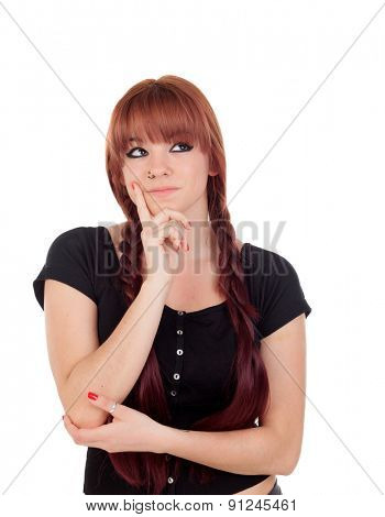 Pensive teenage girl dressed in black with a piercing isolated on white background