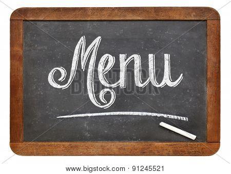 menu sign  on a vintage slate blackboard isolated on white