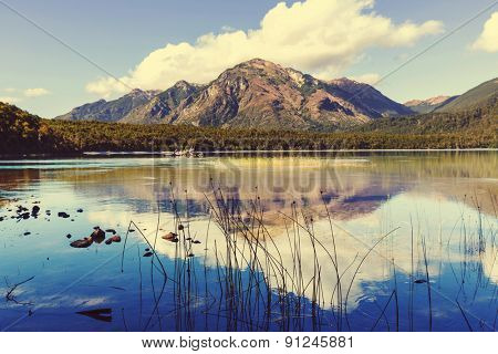 Patagonia landscapes in Argentina -serenity lake in mountains