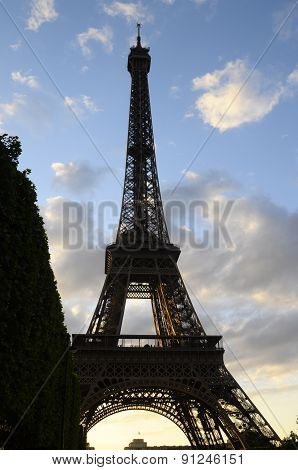 Eiffel Tower At Dusk In France