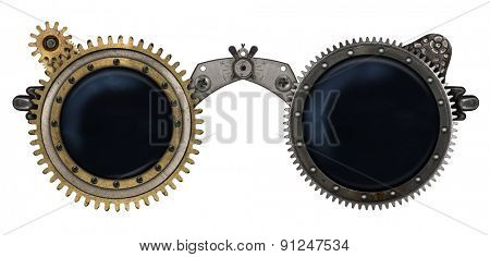 Steampunk glasses metal collage isolated on white background