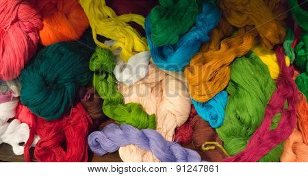 Many colors of cotton threads for weaving
