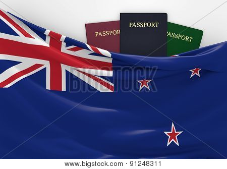 Travel and tourism in New Zealand, with assorted passports