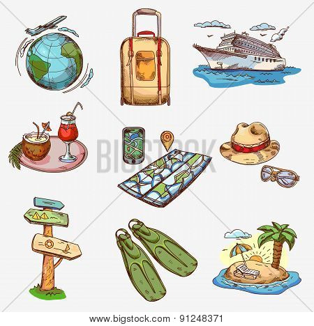 Hand drawn travel icons traveling on airplane, planning a summer vacation, tourism and journey.