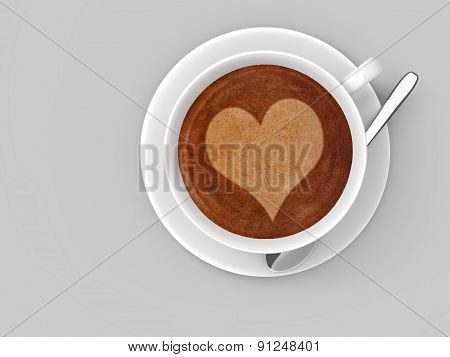 White coffee cup on a saucer with a heart shape in the latte foam