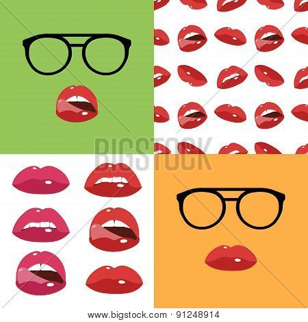 Sexy lips seamless and icons set