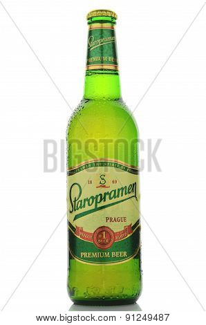 Staropramen premium beer isolated on white background