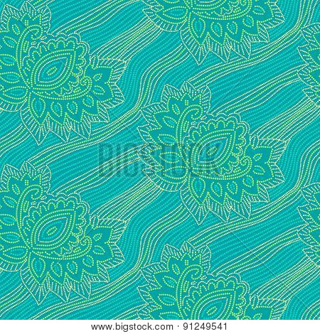 Floral seamless pattern with points