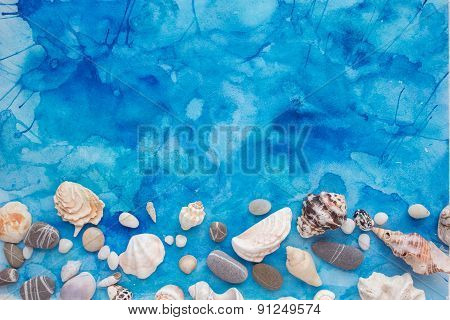 Stones And Seashells On The Turquoise Watercolor Background