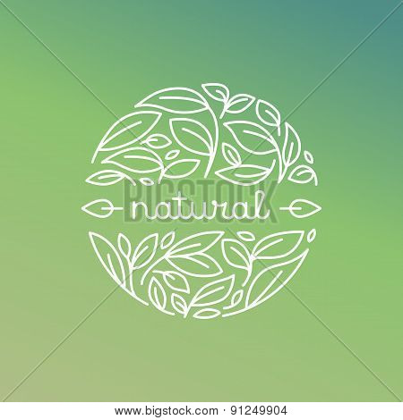 Vector Natural Label In Trendy Linear Style