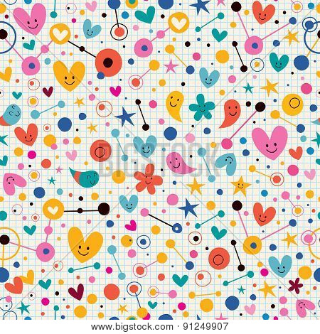 Funky cute cartoon retro note book paper pattern