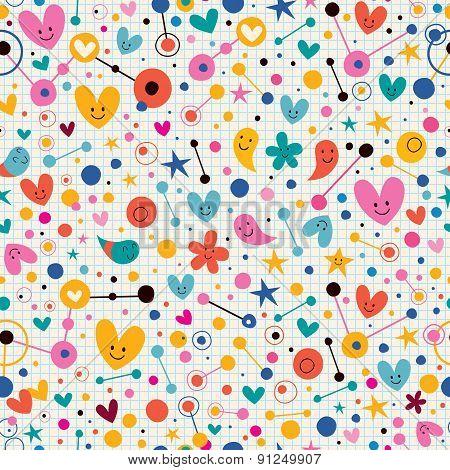 Funky cute cartoon retro note book paper pattern