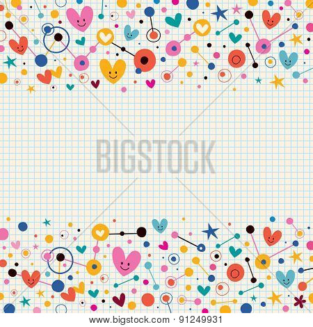 Hearts, dots and stars funky note paper retro background