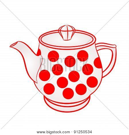 Teapot With Red Dots Vector
