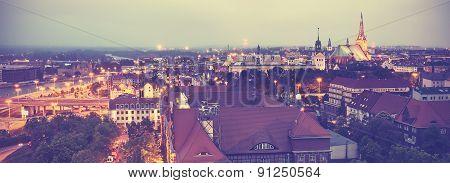 Vintage Toned Panoramic View Of Szczecin.