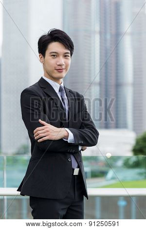 Asian businessman standing at outdoor