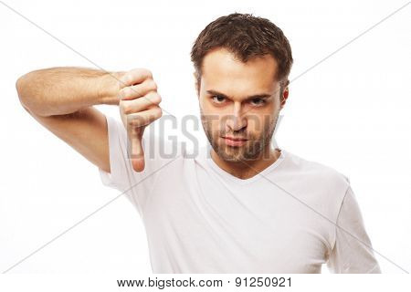 life style  and people concept: young casual man making the thumbs down negative hand sign on white background