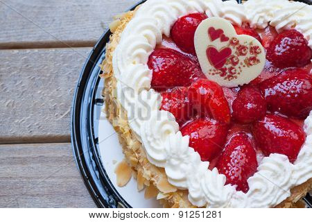 Heart Shape Cake With Strawberry