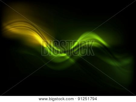 Green orange wavy design on black background. Vector illustration