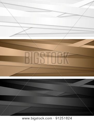 Abstract corporate banners with stripes. Vector design