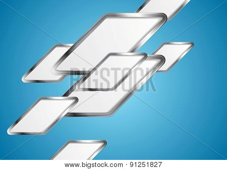 Blue tech abstract background with silver elements. Vector design