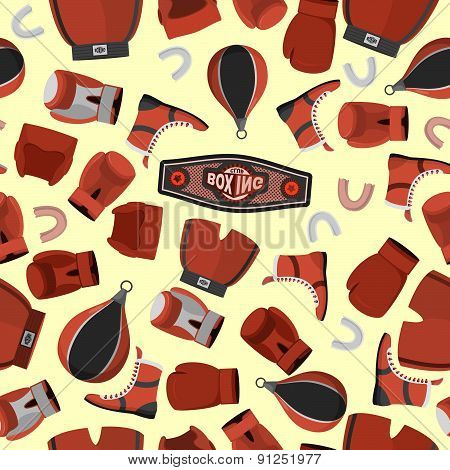 Boxing objects Seamless Pattern background. Gloves and helmet. Sport vector Illustration