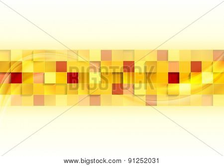 Abstract tech mosaic background with wave. Vector design