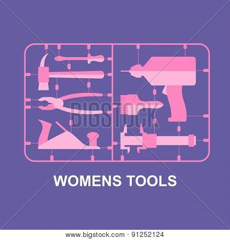 Pink tools. Set for women. plastic model kits for blondes. Vector illustration