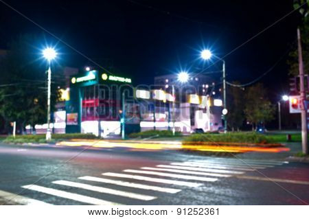 Defocused photo of night city background