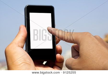 hand hold and touch smart phone with blank screen