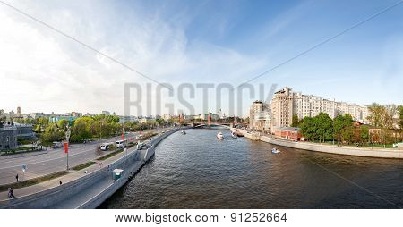 Panorama View Of Moscow - Moscow-river, Kremlin, Variety Theatre, Grand Kremlin Palace.