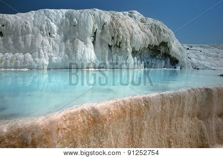 Famous beautiful travertine pools and terraces in Pamukkale Turkey