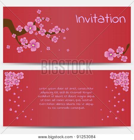 Invitation Design Template Blooming Sakura on Red Background.
