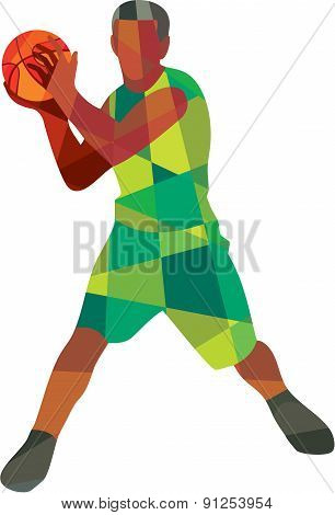 Basketball Player Ball In Action Low Polygon