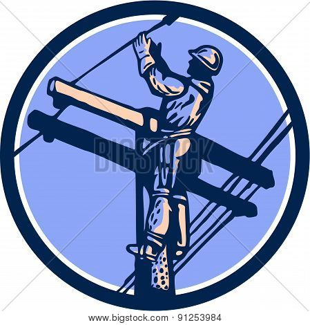 Power Lineman Repairman Climb Pole Retro Circle