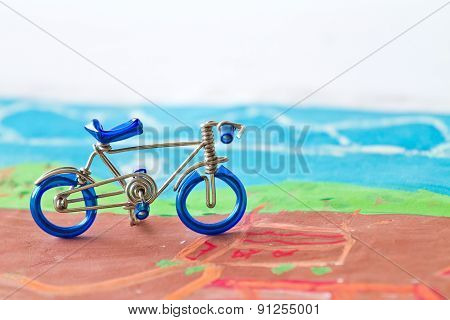 Closeup figure bicycle model with soft focus vintage style.