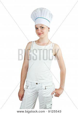 Cook In  Toque Over White