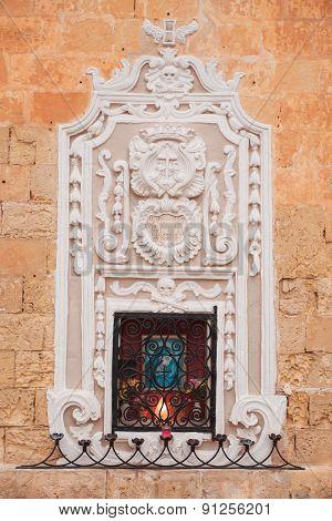 Religious Icon Of Madonna On A House Facade In Mdina, Malta.