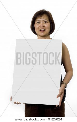 Businesswoman Holding Sign Board