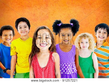 Kids Children Diversity Happiness Group Cheerful Concept