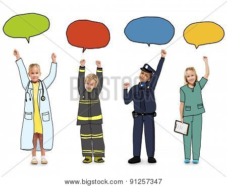Children with Dream Job Concepts and Speech Bubbles Concept