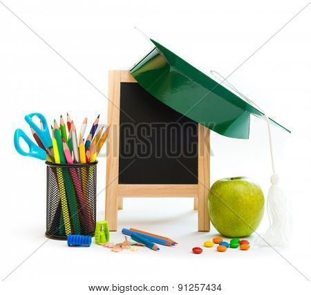 Group of school objects on a white background isolation