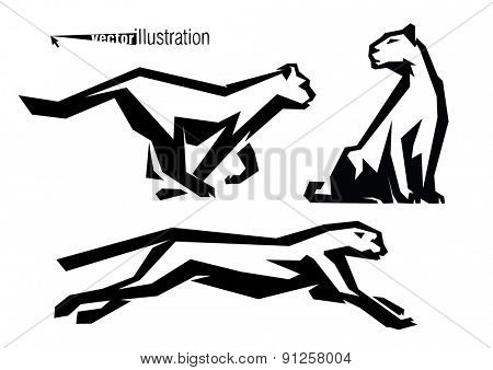 The silhouettes of wild cats. Logo style.