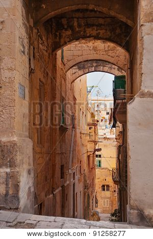 Ancient Eagle Street In Valletta, Malta.